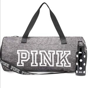 PINK duffel bag with Printed water bottle Set